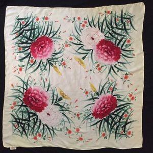 Vintage Romantic Floral Silk Scarf